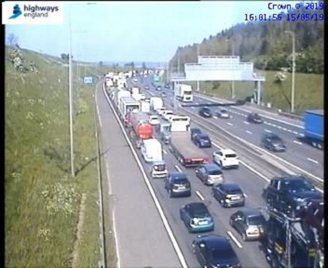 Westbound queues stretch back past Junction 25 Brighouse after the accident on the Eastbound carriageway
