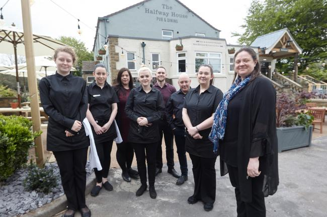 Staff at the new-look Halfway House, Baildon