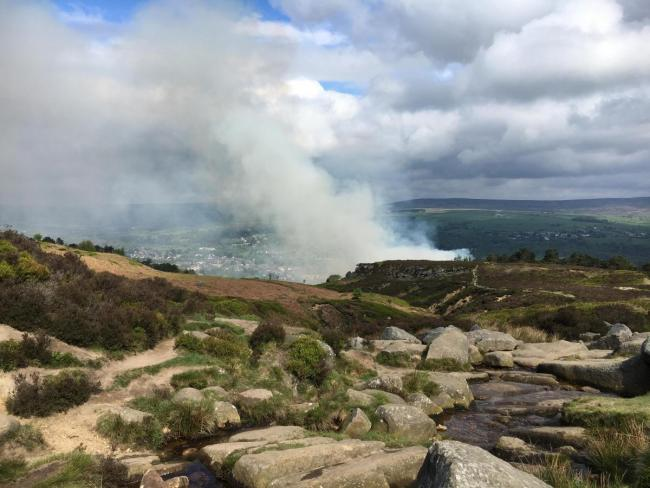 The fire on Ilkley Moor on May 18. Photo by Richard Hartley