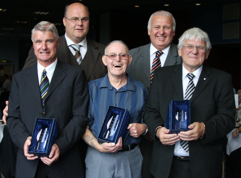 Fred Lindop, Ron Earnshaw and Peter Fox (front row, from left) after being inducted onto the Rugby Football League's Roll of Honour