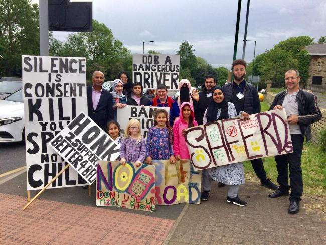 Bradford 4 Better campaigners, In Leeds Road, against dangerous driving