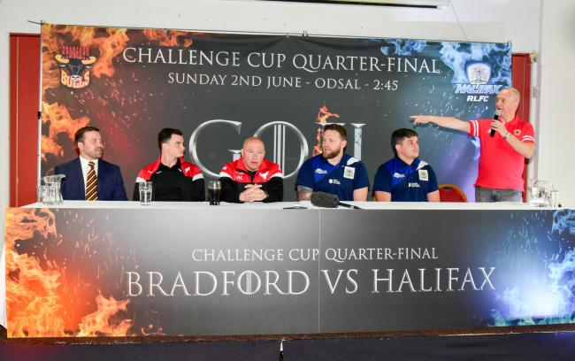 Challenge Cup Quarter-Final Press Conference at Odsal, from left to right Russ MacFarlane, Jordan Lilley, John Kear, Simon Grix, Scott Murrell and Damian Gibson   Pic: Chris Hyslop