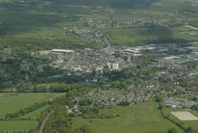 Aerial views of Brighouse area.