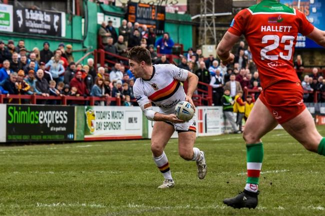 Ashley Gibson's last game for the Bulls was at Keighley in March. Pic: Tom Pearson