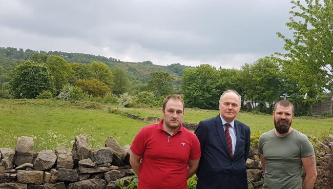 MP John Grogan, centre, at the site with residents Andy Ritchie, left, and Dan Pash