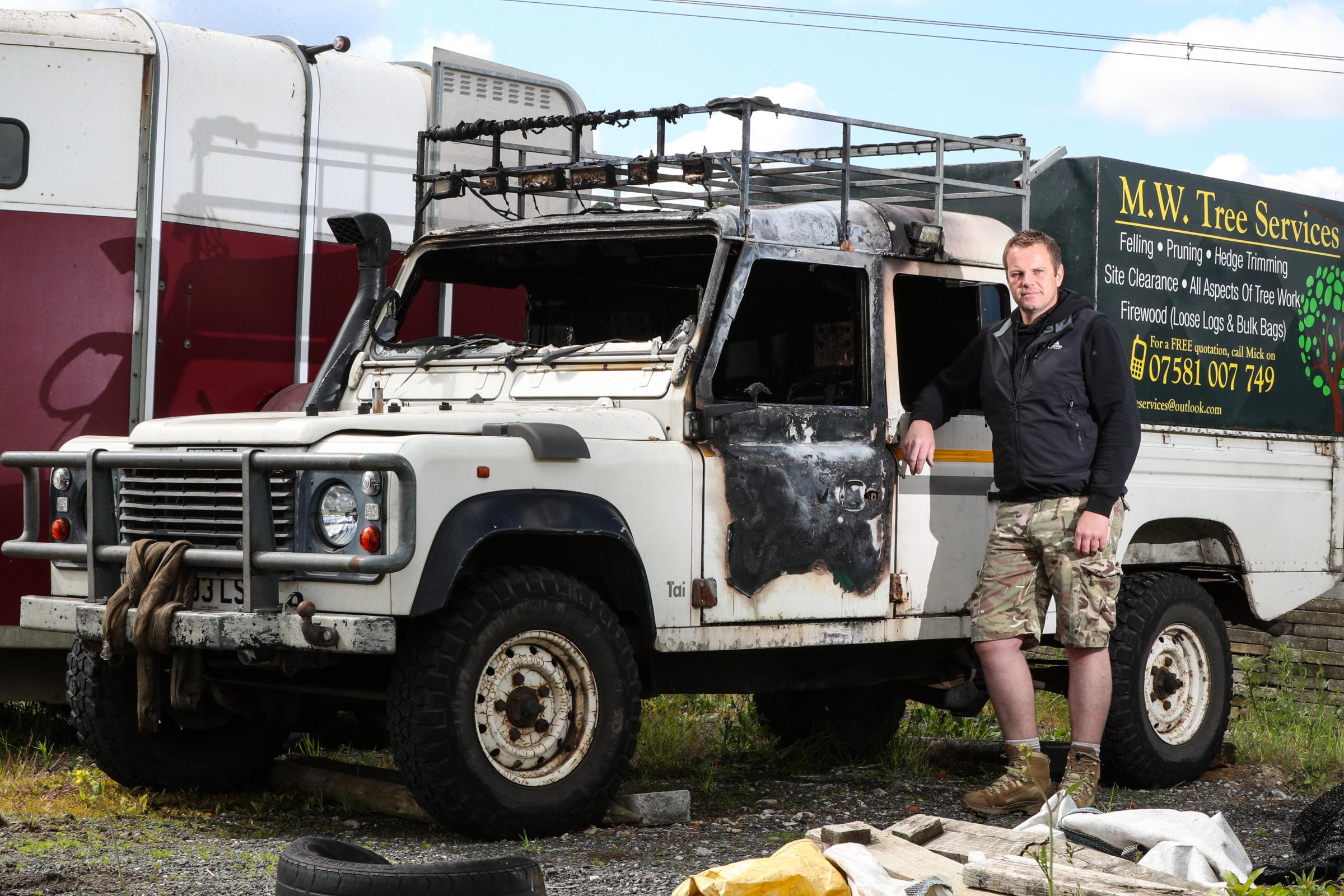 WATCH: Shocking footage shows tree surgeon's Land Rover Defender being torched