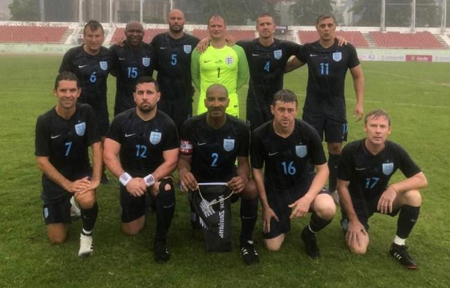England Veterans, featuring Eccleshill manager Lee Alam, line up before they beat New Zealand 4-2 in the Seniors World Cup in Thailand