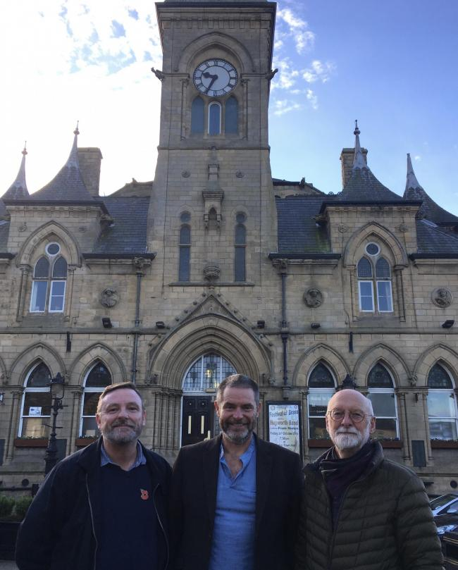 Councillors Sandy Lay, Ryk Downes and Colin Campbell at Yeadon Town Hall