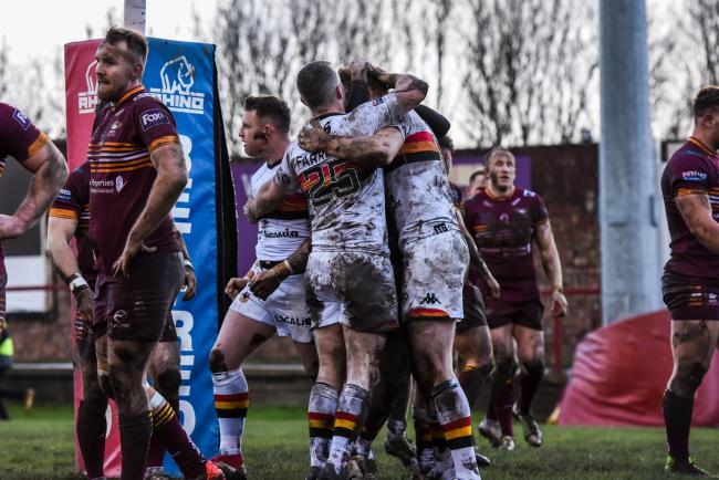 Bulls celebrate a try in their win at Batley back in March   Picture: Tom Pearson