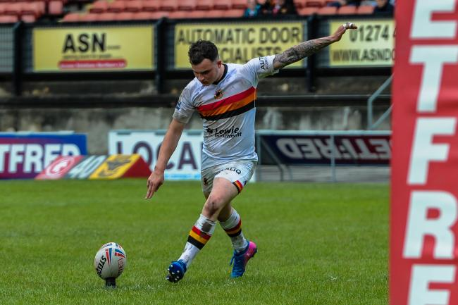 Jordan Lilley goes for the two extra points in Bulls' 16-0 win over Batley Bulldogs in the Betfred Championship at Odsal. Picture: Tom Pearson