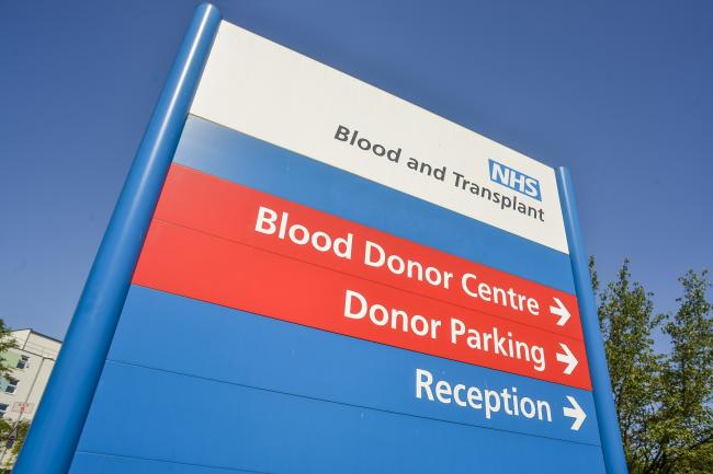 A blood donor centre sign