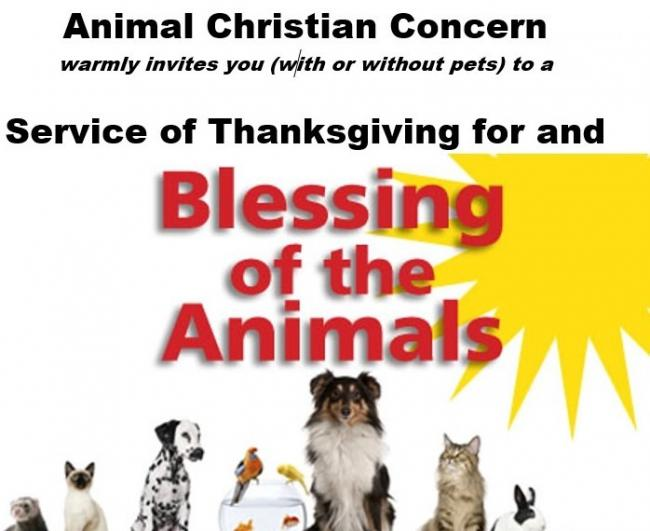 The poster for the Blessing of the Animals service at Rawdon