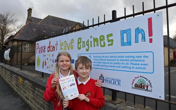 Saskia Tomlinson 10 and Jake Waddington 7 from Myrtle Park Primary at the launch of the school's No Idling campaign