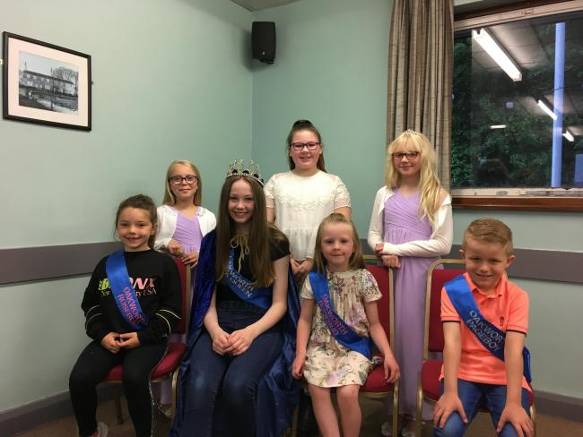 This year's gala retinue, from left, front, Mya Hird, Hannah Morris, Esmae Yeadon and Noah Holdsworth, with the outgoing retinue, back, rosebud Elise Mayor, queen Brooke Lee and rosebud Aimee Bilbrough