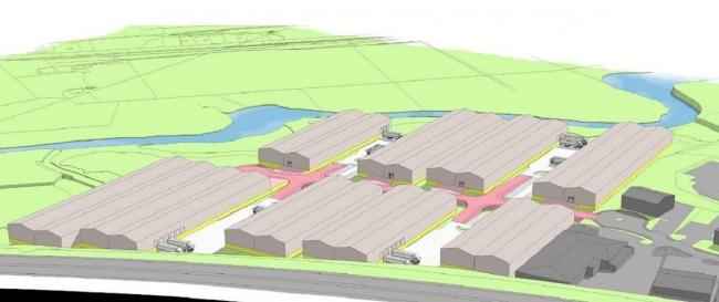 An artist's impression of the industrial park