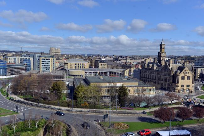 The View from jacobs Well across Bradford of City hall and the Magistrates courts and city park..